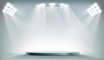 Foto auf Acrylglas Licht / Schatten Round podium illuminated by searchlights.