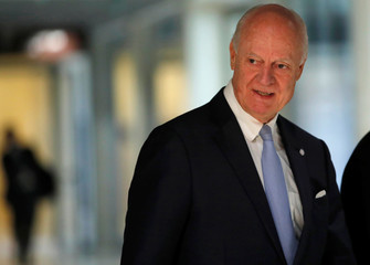 UN Syria envoy de Mistura attends a news conference in Geneva