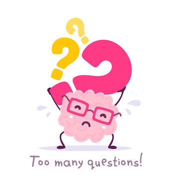 Vector illustration of pink color smile brain with glasses holding question mark on white background. Very strong cartoon brain concept