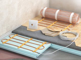 Floor with electric heating. 3d illustration