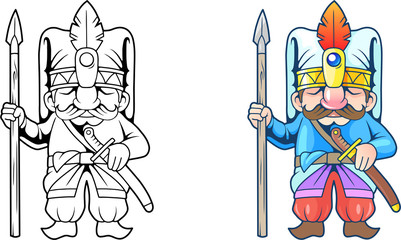 cartoon funny turkish soldier, illustration coloring book