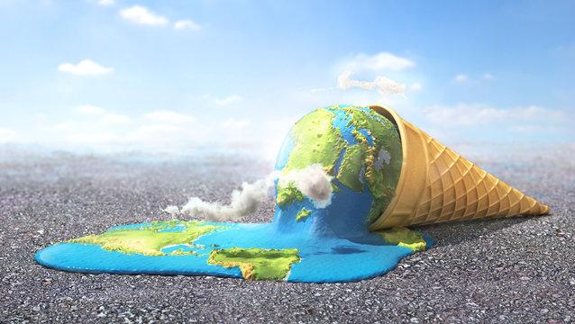 Global warning. Planet as melting ice cream under hot sun. 3d illustration