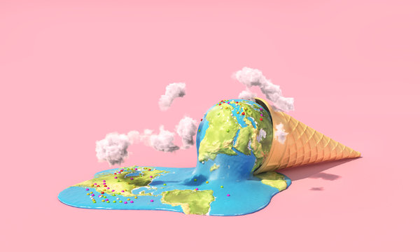Global warning. Planet as melting ice cream under hot sun on a pink background. 3d illustration
