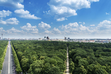 aerial view of Tiergarten and skyline of Berlin.