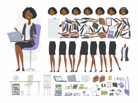 African businesswoman - vector cartoon people character constructor