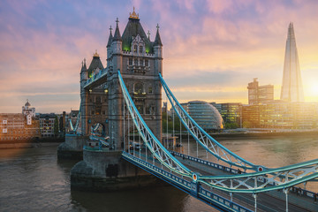 Fotobehang London The Tower Bridge in London, the UK. Sunset with beautiful clouds