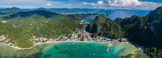 Panoramic aerial view of the town of El Nido in Palawan, Philippines