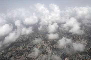 An aerial view shows monsoon clouds over Mumbai