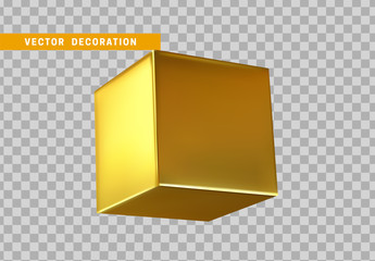 Golden 3d cube, geometric gold square isolated realistic on transparent background.