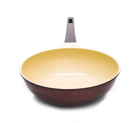 Empty new wok isolated on white background. Chinese frying pan