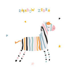 Funny rainbow zebra with lettering. Kids fashion print. Vector hand drawn illustration.