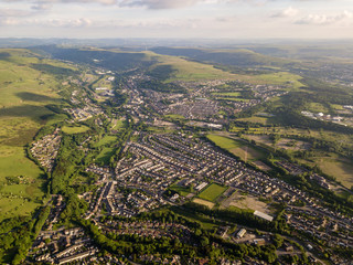 Aerial view of the town of Ebbw Vale in the South Wales valleys