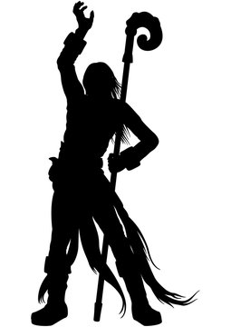 Sorcerer silhouette/ Illustration silhouette a wizard with a magic staff, casting spells
