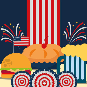 food american independence day usa flag background fireworks cherry pie hamburger beer vector illustration