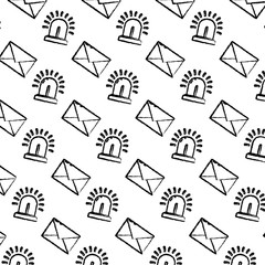 grunge e-mail message and light siren background