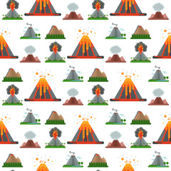 Volcano magma vector nature blowing up with smoke crater volcanic mountain hot natural eruption earthquake seamless pattern background illustration.