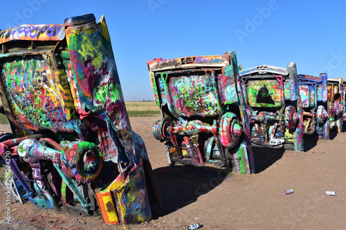Cadillac Ranch In Amarillo Texas On Route 66 Stock Photo And
