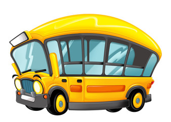 funny looking cartoon yellow bus - illustration for children