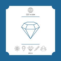 Diamond sign. Jewelry symbol. Gem stone. Flat simple design - line icon