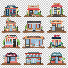 Set of vector flat facade icons. Bakery, flowers, cafe, restaurant, pizza, books, barber, ice cream and market laundry and boutique without background.