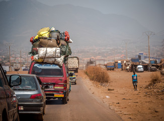 People on the road street - in Africa