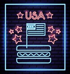 american independence day hotdog with american flag pink stars vector illustration