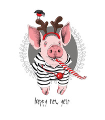 Christmas card. Portrait of the pink Pig in a striped cardigan, Santa's deer mask and with a red funny party whistle blowing on a gray background. Vector illustration.
