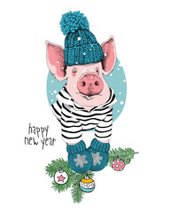 Christmas card. Portrait of the pink Pig in a striped cardigan, knitted cap, mittens and with a green fir branch. Vector illustration.