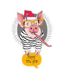 Christmas card. Portrait of the pink Pig in a red Santa's cap, striped cardigan, yellow glasses and with a funny party whistle blowing on a gray background. Vector illustration.