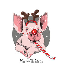 Christmas card. Portrait of the pink Pig in a Santa's deer mask and with a red funny party whistle blowing on a gray background. Vector illustration.