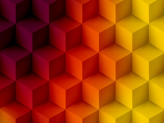 Purple yellow cubic abstract background, soft graphic illustration
