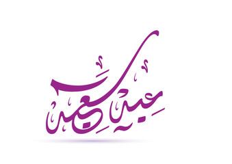 eid mubarak greeting in arabic calligraphy style ; transltion : blessed and happy eid . vector illustration