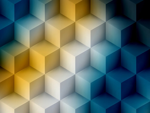Yellow blue cubic abstract background, soft graphic illustration