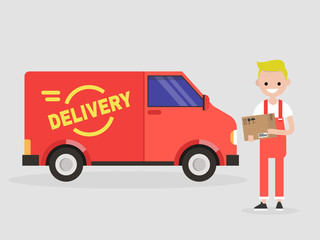 Delivery service. Young smiling courier holding a parcel. Transportation. Flat vector illustration, clip art