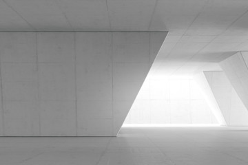 Abstract Empty space with white wall. Modern blank showroom with floor. Future concept. 3d rendering. Fototapete