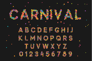 Font alphabet of colored confetti. Festive carnival letters, birthday, Brazilian festival of paints. Set holiday symbol. Celebrate anniversary numbers. Vector isolated on black background