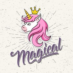 unicorn head mascot, vector illustration