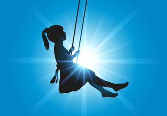 balançoire - enfant - fillette - jeu - plein air - bonheur - symbole - liberté - vacances - soleil - été