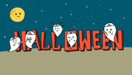 Wall Mural - Halloween ghost cartoon vector illustration