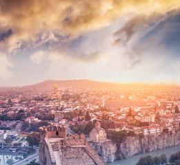 beautiful view of Narikala fortress and Tbilisi in Georgia