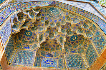 Mosaic decoration of Ali Gholi Agha Mosque in Isfahan. Iran