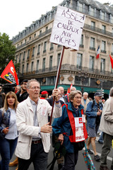 Retired people demonstrate during a protest to defend pensions and purchasing power in Paris