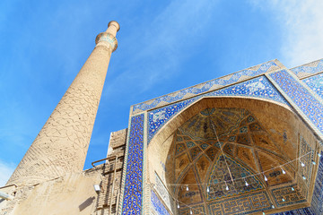 Minaret of Ali Mosque in Isfahan. Iran