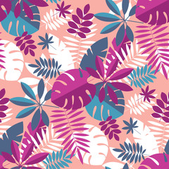 Vibrant bright simple tropical leaves seamless pattern
