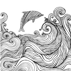 Dolphin and ocean waves coloring page for children and adults.