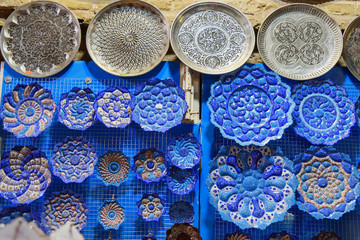 Traditional Iranian plates and dishes with traditional persian ornament