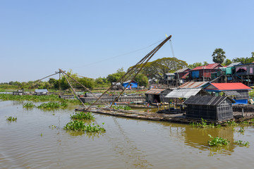 Fishnets in a tributary river to the Tonle Sap lake