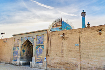 Back entrance to Shah Mosque or Imam Mosque in Isfahan. Iran