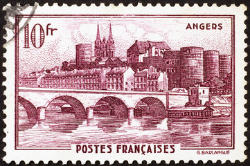 Vintage stamp of Angers in France