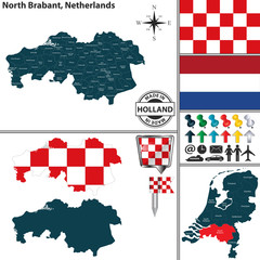 Map of North Brabant, Netherlands